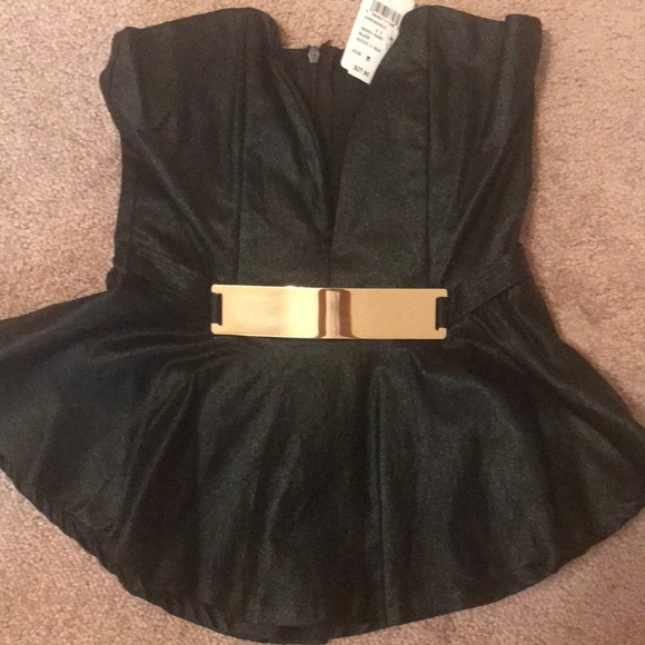 e4b827928c1 Windsor black shimmer tube top with gold buckle!